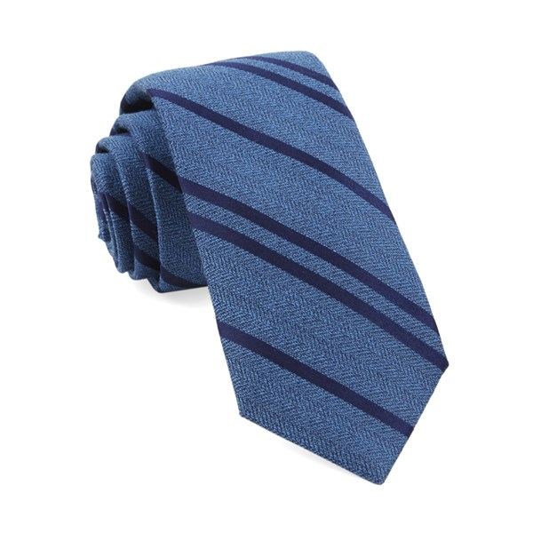 Serene Blue Wool Path Stripe Tie