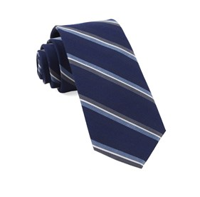 Navy Short Cut Stripe ties