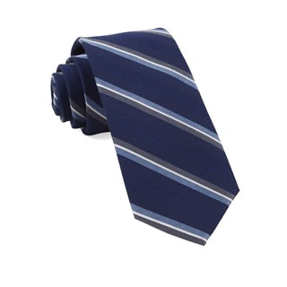 Short Cut Stripe Navy Tie
