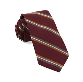 Short Cut Stripe Burgundy Ties