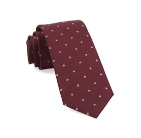 Burgundy Heart To Heart ties