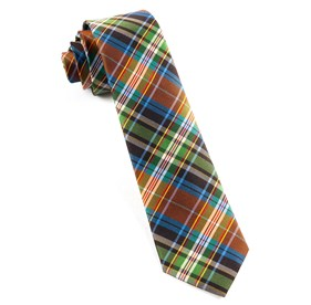 Orange West Village Plaid ties