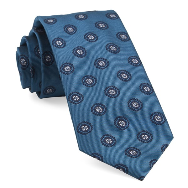 Teal Counter Medallions Tie