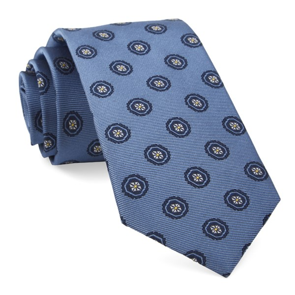 Light Blue Counter Medallions Tie