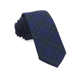 Navy Pittsfield Plaid ties