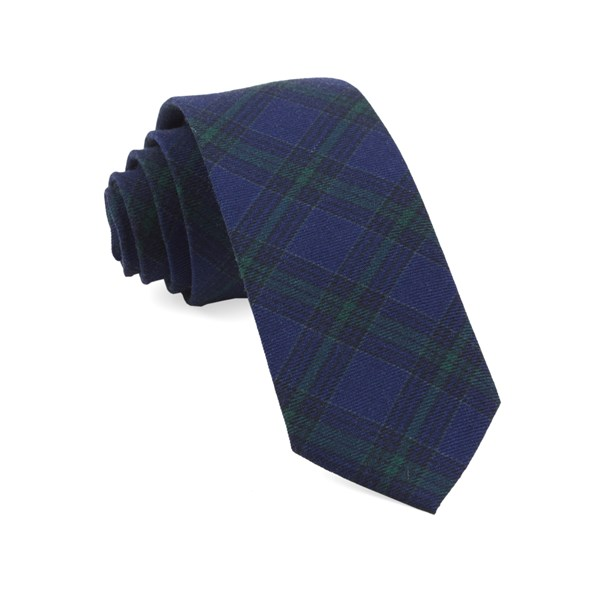 Navy Pittsfield Plaid Tie