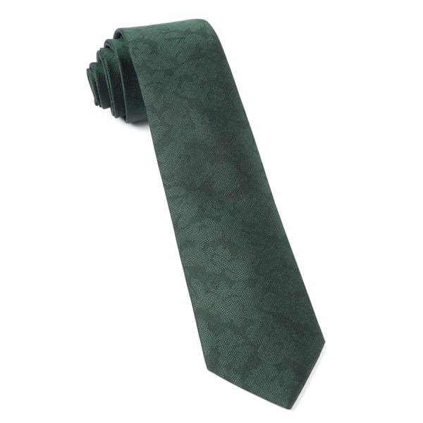 Hunter Green Refinado Floral Tie