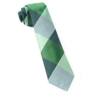 West Bison Plaid Green Tie