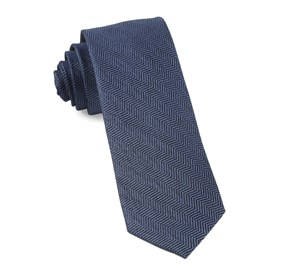 Navy Verge Herringbone ties