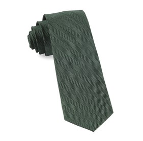 Hunter Green Verge Herringbone ties