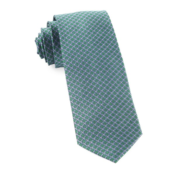 Emerald Green Flower Network Tie