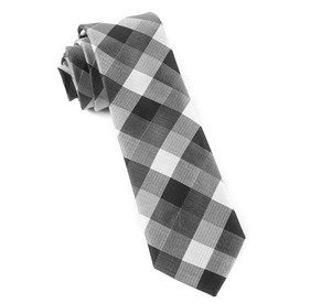 Pitch Plaid Black Ties
