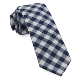 Trellis Plaid Navy Ties