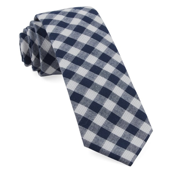 Navy Trellis Plaid Tie