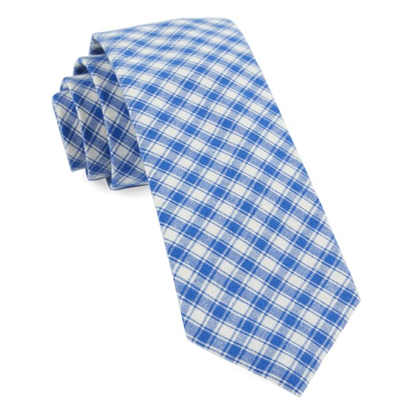 Royal Blue Mesh Plaid Tie