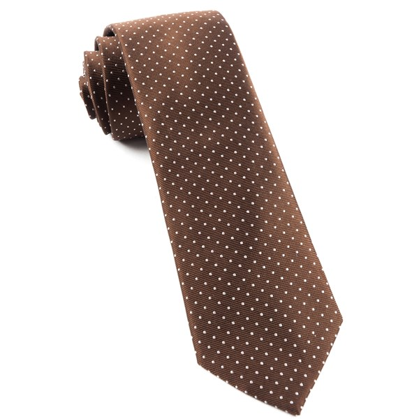 Chocolate Brown Mini Dots Tie