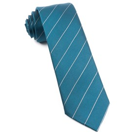 Pencil Pinstripe Deep Teal Ties