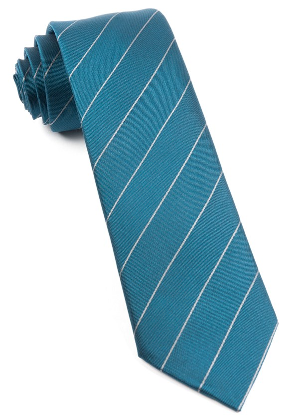 Pencil Pinstripe Deep Teal Tie