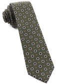 Ties - Printed Floral Replay - Dark Clover Green