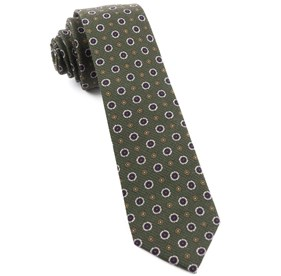 Dark Clover Green Printed Floral Replay ties