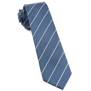 Pencil Pinstripe Slate Blue Tie