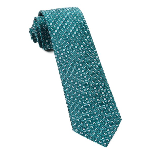 Green Teal United Medallions Tie