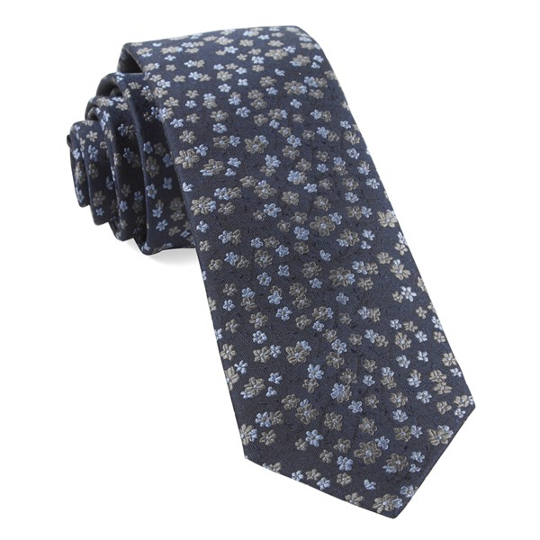 Navy Free Fall Floral Tie