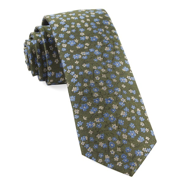 Army Green Free Fall Floral Tie