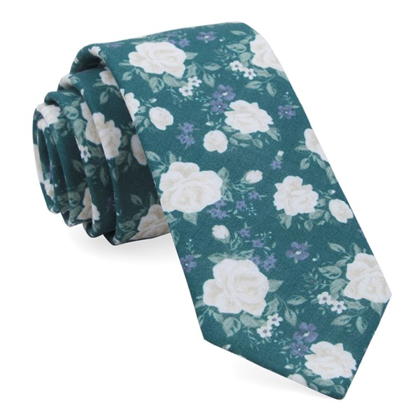 Hunter Green Hodgkiss Flowers Tie