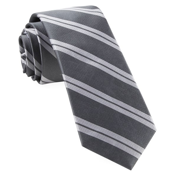 Grey Center Field Stripe Tie