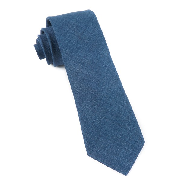 Navy Freehand Solid Tie