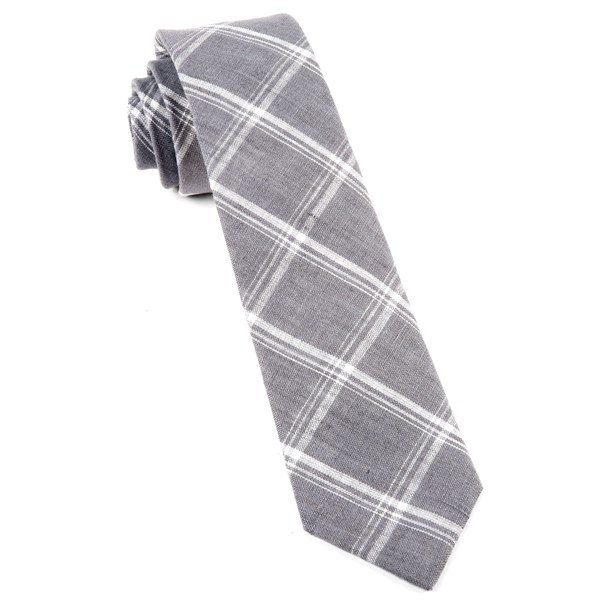 Grey Jet Plaid Tie