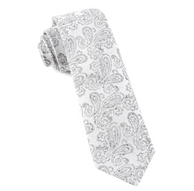 White Hanging Paisley ties