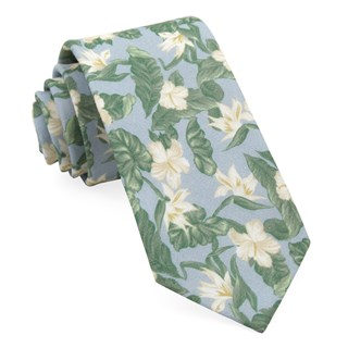 tropical floral light blue ties