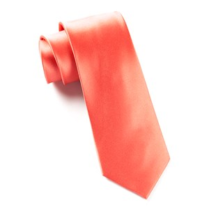 solid satin coral ties