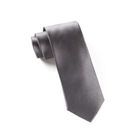 Solid Satin Charcoal Ties