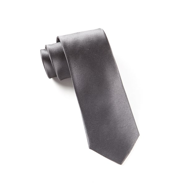 Charcoal Solid Satin Tie