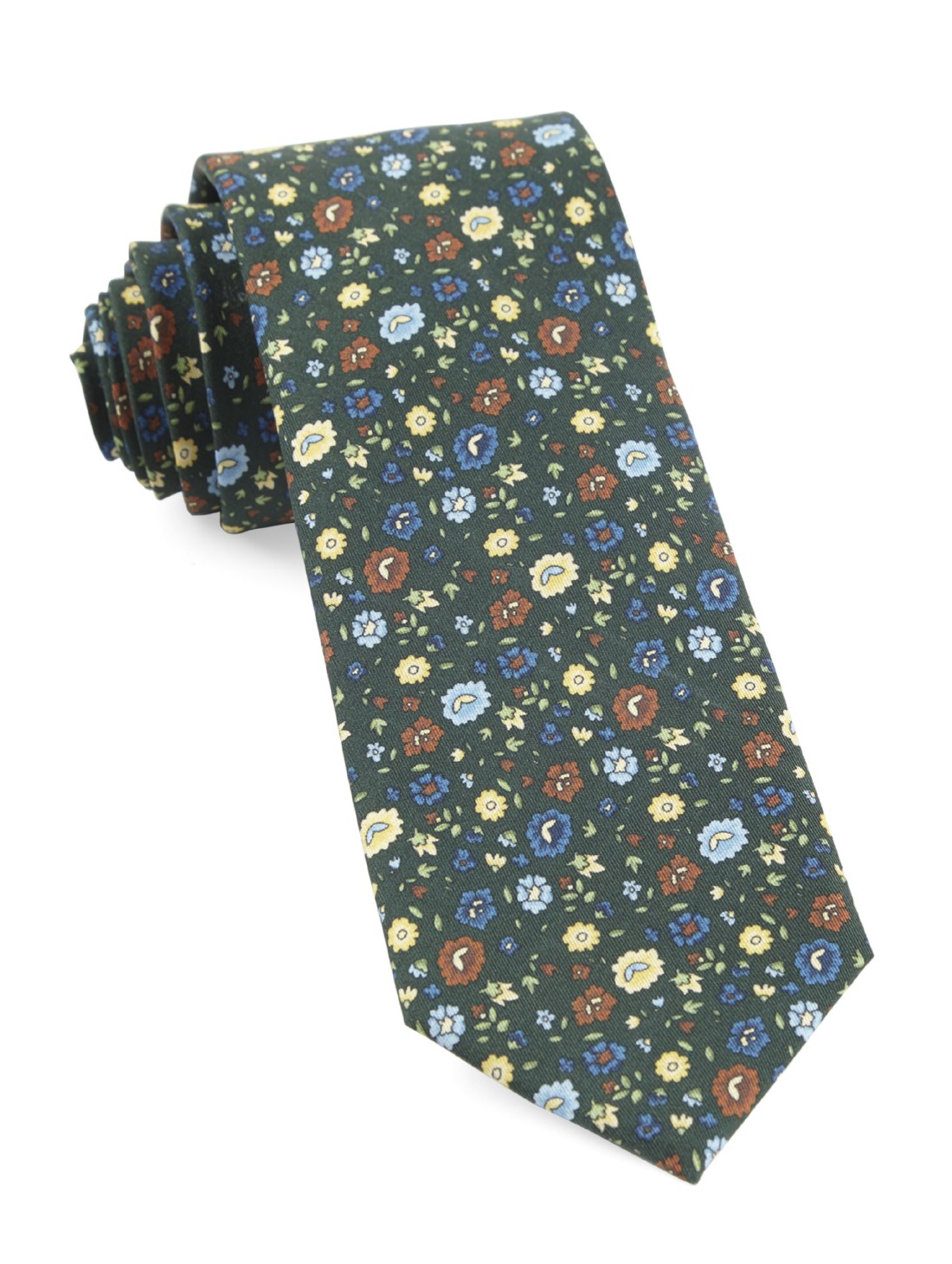 "Morrissey Flowers - Hunter Green - 2.5"" x 58"" - Ties"