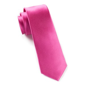 solid satin fuchsia ties