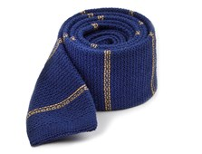 Ties - Knitted Hem Stripe - Classic Blue