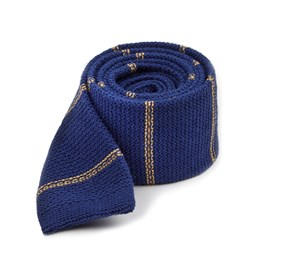 Knitted Hem Stripe Classic Blue Ties