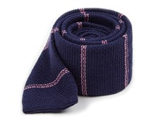 Ties - Knitted Hem Stripe - Navy