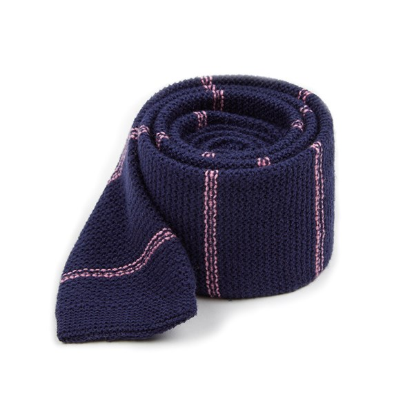 Navy Knitted Hem Stripe Tie