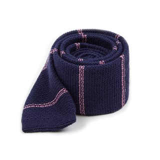 knitted hem stripe navy ties