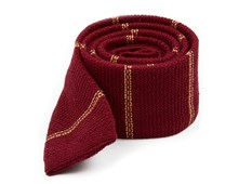 Ties - Knitted Hem Stripe - Burgundy