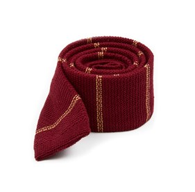 Burgundy Knitted Hem Stripe ties