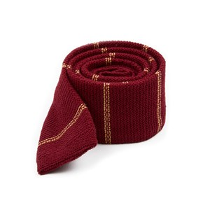 knitted hem stripe burgundy ties