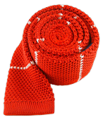 Ties - Knit Stripe - Apple Red