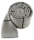Ties - Knit Stripe - Light Grey
