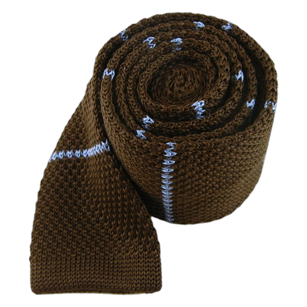 Brown Knit Stripe Tie